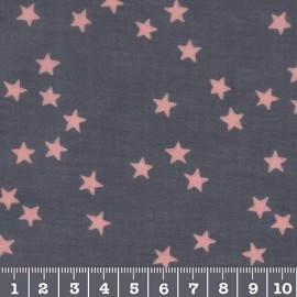 Gray with pink cloud of stars glossy coated cambric