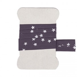Grey with white stars bias tape