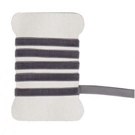 Velvet grey elastic ribbon