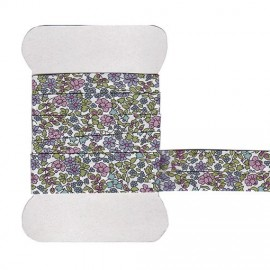Purple Emilia's flowers Liberty bias tape