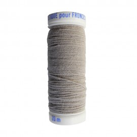 Braided elastic thread Lebaufil for gathering - Light grey