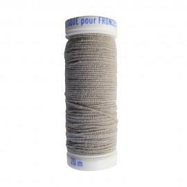 Braided elastic thread Lebaufil for gathering - Light grey