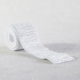 Elastique blanc lamé argent 30 mm