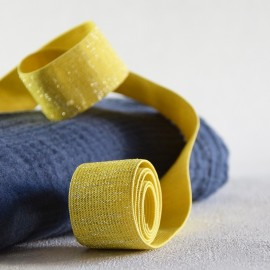 Yellow and silver lurex lame elastic 30 mm