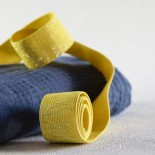 Elastique jaune lamé argent 30 mm