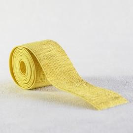 Elastique jaune lamé or 30 mm