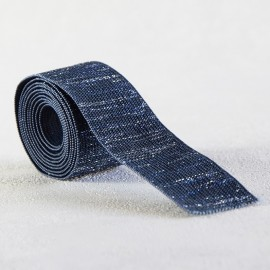 Blue and silver lurex lame elastic 30 mm
