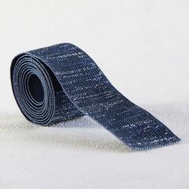 Elastique bleu lamé argent 30 mm