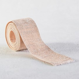 Nude and silver lurex elastic lame 30 mm