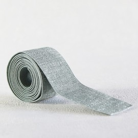 Green gray and silver lurex lame elastic 30 mm