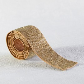 Caramel and silver lurex elastic 30 mm