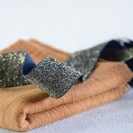 Blue and golden lurex elastic 30 mm