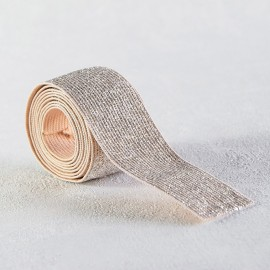 Nude and silver lurex elastic 30 mm