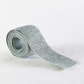 Green gray and silver lurex elastic 30 mm