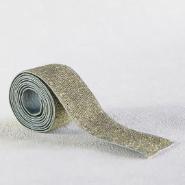Elastique vert de gris lurex or 30 mm