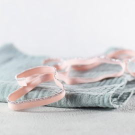 Lurex elastic piping -silver and pink