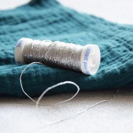 Braided elastic thread Lebaufil for gathering - Silver