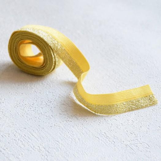 Biais élastique jaune et argent