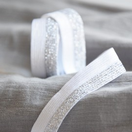 White and silver elastic band
