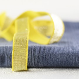 Banana and silver lurex elastic 20 mm