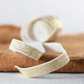 Elastique blanc et lurex or en 10 mm