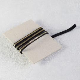Cordon élastique noir et lurex or
