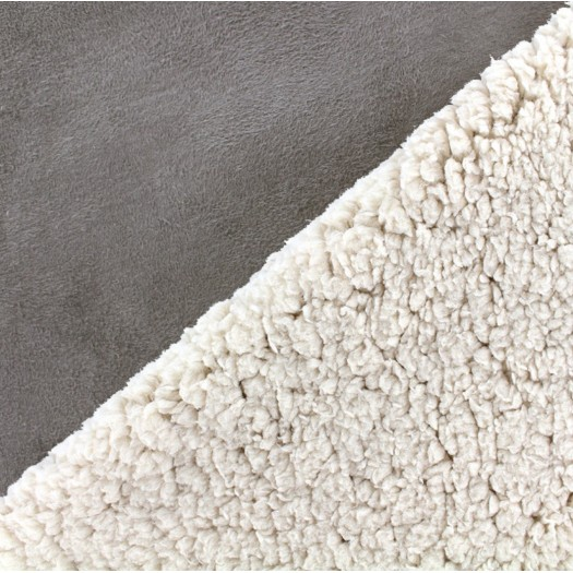 Tissu suédine fausse fourrure - gris
