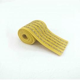 Elastique rayé jaune et lurex or en 40 mm