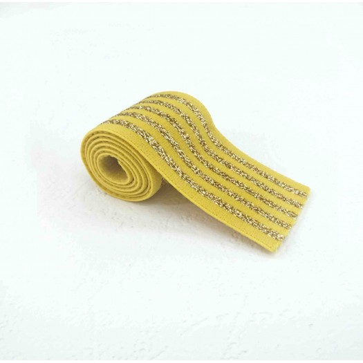 Banana and silver lurex elastic 40 mm