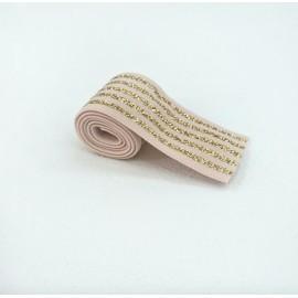 Elastique rayé rose et lurex or en 40 mm