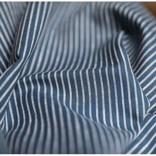Tissu coton à rayures - bleu et blanc