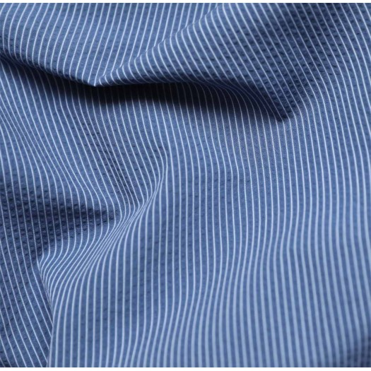 tissu seersucker rayures bleu et blanc france duval stalla. Black Bedroom Furniture Sets. Home Design Ideas