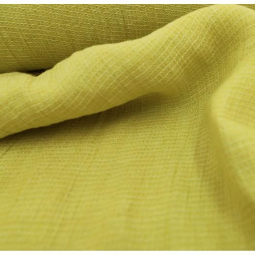 Lin lavé jaune nid d'abeille