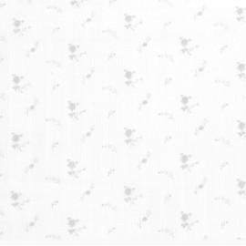 Double gaze fleurs argent - blanc