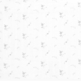 White and silver flowers double gauze fabric