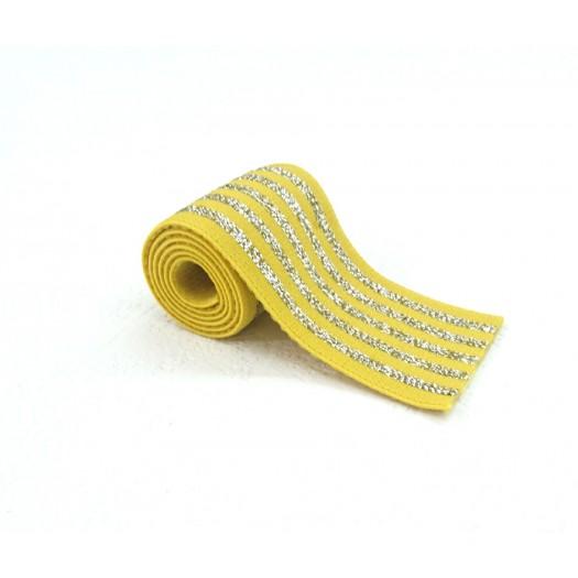 Elastique rayé jaune et lurex argent en 40 mm