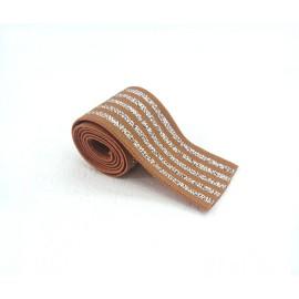 Elastique rayé caramel et lurex argent en 40 mm