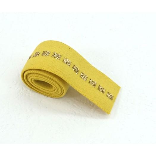 Elastique jaune carré or en 22 mm