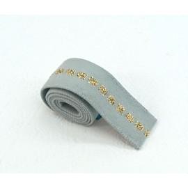 Elastique vert de gris carré or en 22 mm