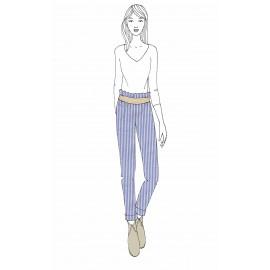 KIT Pantalon femme Gabrielle - seersucker bleu et blanc