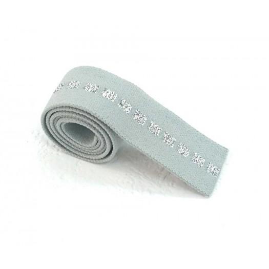 Elastique vert de gris carré argent en 22 mm