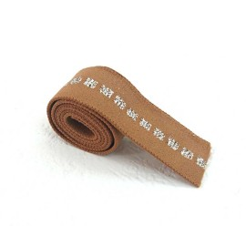Elastique caramel carré argent en 22 mm