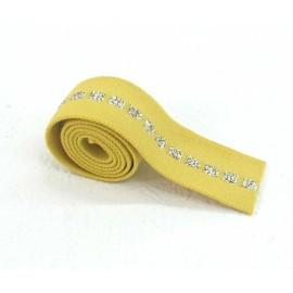 Elastique jaune carré argent en 22 mm