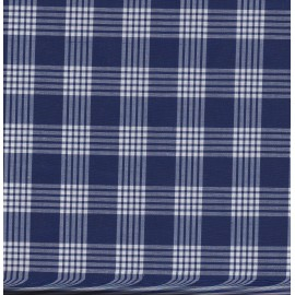 Tissu coton carreaux blanc - bleu