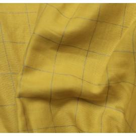 Double gaze carreaux - argent et jaune