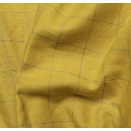 Yellow and checked silver double gauze fabric
