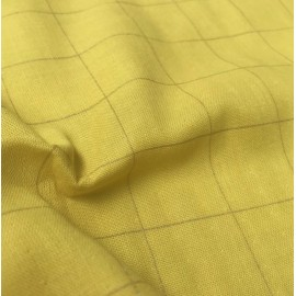 Yellow and checked golden double gauze fabric