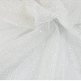 Tissu tulle blanc à paillettes