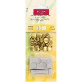 8 Pressions sans couture doré - 8 mm