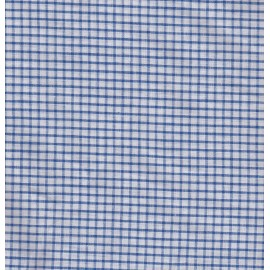 White and blue checked cotton fabric